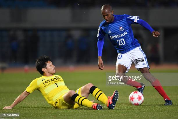 Martinus of Yokohama FMarinos and Hidekazu Otani of Kashiwa Reysol compete for the ball during the 97th Emperor's Cup semi final match between...