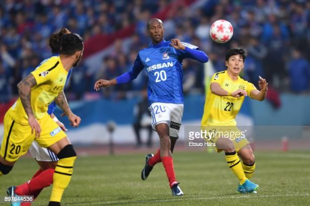 Martinus of Yokohama FMarinos and Naoki Wako of Kashiwa Reysol compete for the ball during the 97th Emperor's Cup semi final match between Yokohama...
