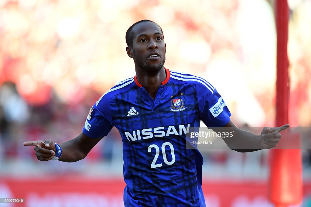 Martinus of Yokohama F.Marinos celebrates scoring his team's first goal during the J.League match between Urawa Red Diamonds and Yokohama F.Marinos at Saitama Stadium on November 3, 2016 in Saitama, Japan.