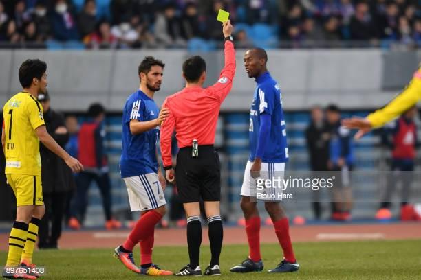 Martinus of Yokohama FMarinos sees an yellow card during the 97th Emperor's Cup semi final match between Yokohama FMarinos and Kashiwa Reysol at...