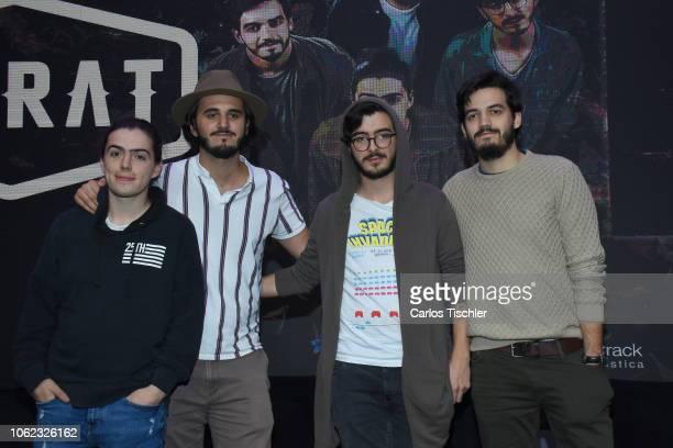 Martín Vargas Juan Pablo Isaza Simón Vargas Juan Pablo Villamil pose for photos during Morat's new album 'Balas Perdidas' launch at Universal Music...