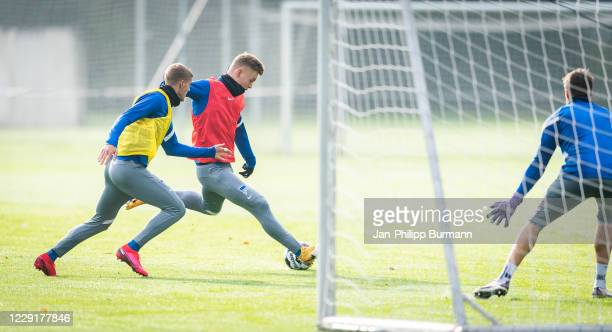 Marton Dardai and Luca Netz of Hertha BSC during the training session on October 20 2020 in Berlin Germany