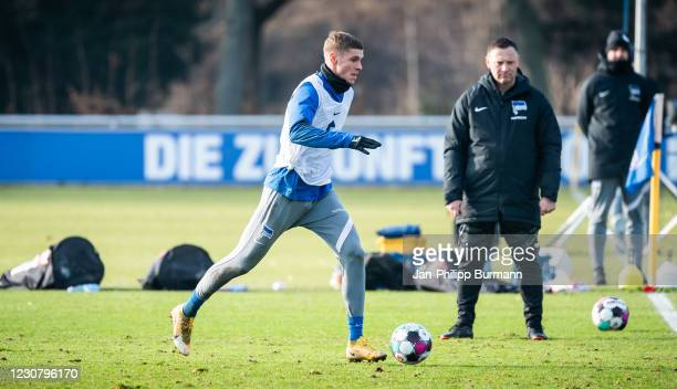 Marton Dardai of Hertha BSC during the training session at Schenckendorffplatz on January 26, 2021 in Berlin, Germany.