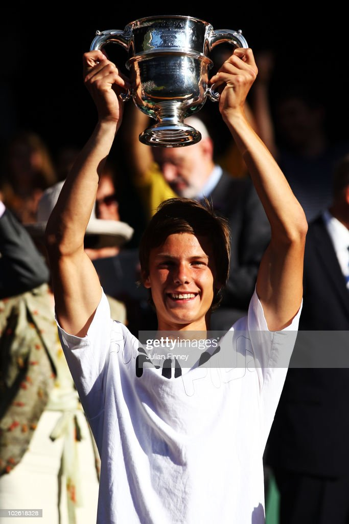 Marton Fucsovcs of Hungary celebrates winning the Boys Singles Final match against Benjamin Mitchell of Australia on Day Thirteen of the Wimbledon Lawn Tennis Championships at the All England Lawn Tennis and Croquet Club on July 4, 2010 in London, England.