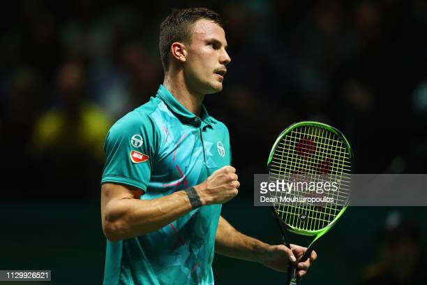 Marton Fucsovics of Hungary celebrates a point against Kei Nishikori of Japan in their quarter final match during Day 5 of the ABN AMRO World Tennis...