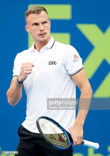 Marton Fucsovics of Hungary celebrates a point in his mens singles first round match against Frances Tiafoe of USA during day two of the ATP Qatar...
