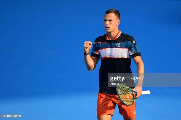 Marton Fucsovics of Hungary celebrates after winning a point against Marco Cecchinato of Italy during their Men's Singles 2nd Round match of the 2018...