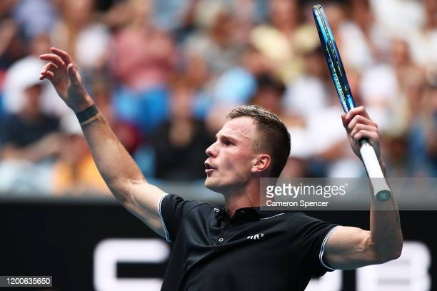 Marton Fucsovics of Hungary celebrates after winning a point during his Men's Singles first round match against Denis Shapovalov of Canada on day one...