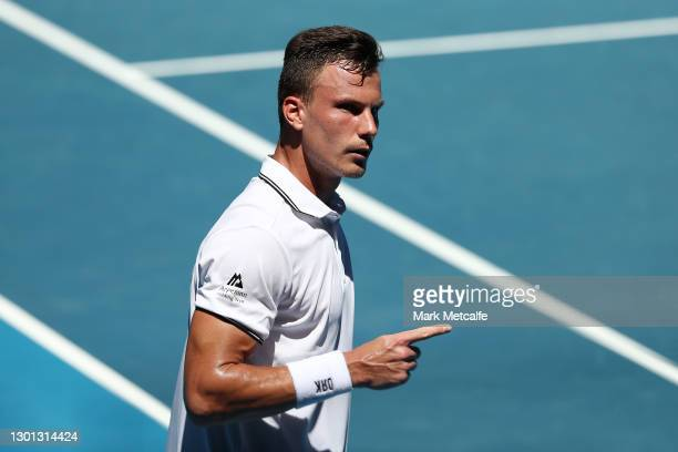 Marton Fucsovics of Hungary celebrates after winning a point in his Men's Singles second round match against Stan Wawrinka of Switzerland during day...