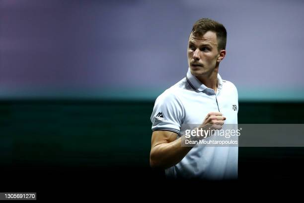 Marton Fucsovics of Hungary celebrates winning a point against Borna Coric of Croatia during Day 6 of the 48th ABN AMRO World Tennis Tournament at...