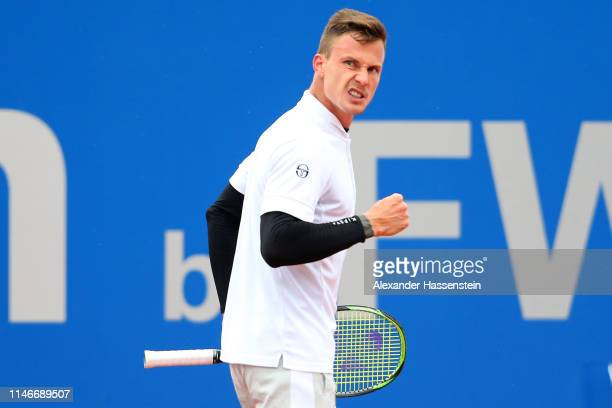 Marton Fucsovics of Hungary celebrates winning a point during his quarter final match against Marco Cecchinato of Italy on day 7 of the BMW Open at...