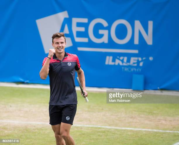 Marton Fucsovics of Hungary celebrates winning his semi final match during the Aegon Ilkley Trophy on June 24 2017 in Ilkley England