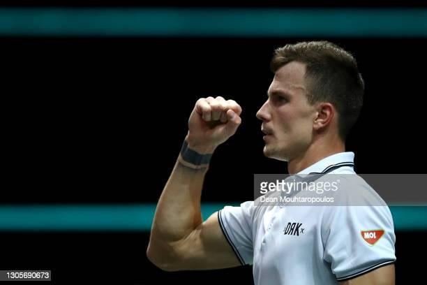 Marton Fucsovics of Hungary celebrates winning match point against Borna Coric of Croatia during Day 6 of the 48th ABN AMRO World Tennis Tournament...
