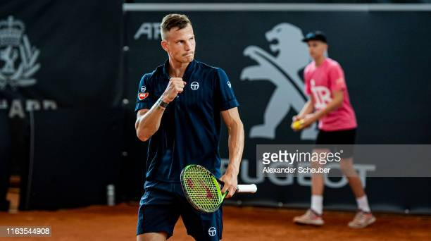 Marton Fucsovics of Hungary celebrates winning over Philipp Kohlschreiber of Germany during the Hamburg Open 2019 at Rothenbaum on July 22 2019 in...