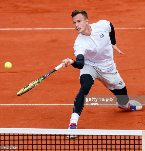 Marton Fucsovics of Hungary controls the ball during the BMW Open by FWU at MTTC IPHITOS on April 29 2019 in Munich Germany