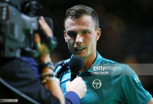Marton Fucsovics of Hungary during Day 4 of the ABN AMRO World Tennis Tournament at Rotterdam Ahoy on February 14 2019 in Rotterdam Netherlands