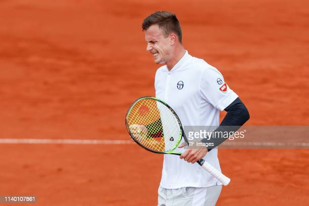 Marton Fucsovics of Hungary gestures during the BMW Open by FWU at MTTC IPHITOS on April 29 2019 in Munich Germany