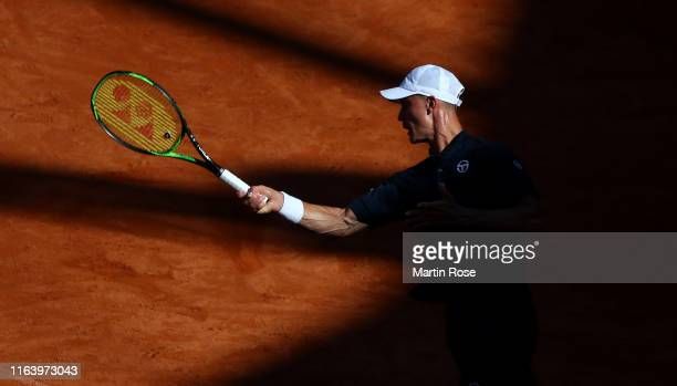 Marton Fucsovics of Hungary in action against Dominic Thiem of Austria during day three of the Hamburg Open 2019 at Rothenbaum on July 24 2019 in...