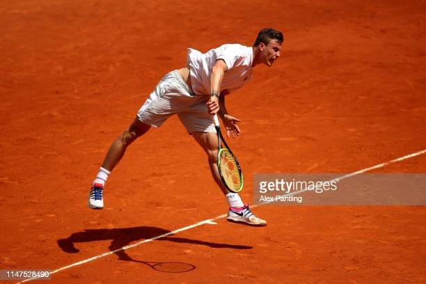 Marton Fucsovics of Hungary in his match against David Goffin of Belgium during day four of the Mutua Madrid Open at La Caja Magica on May 07 2019 in...