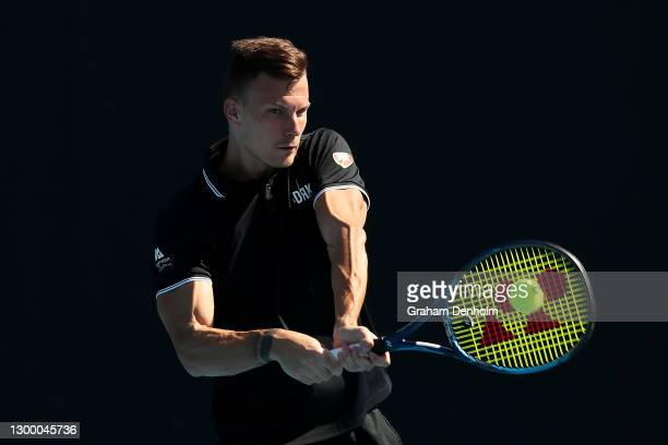Marton Fucsovics of Hungary plays a backhand in his match against Egor Gerasimov of Belarus during day three of the ATP 250 Murray River Open at...