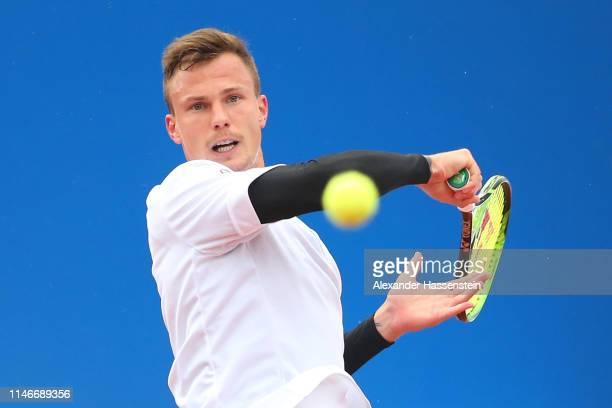 Marton Fucsovics of Hungary plays a fore hand during his quarter final match against Marco Cecchinato of Italy on day 7 of the BMW Open at MTTC...