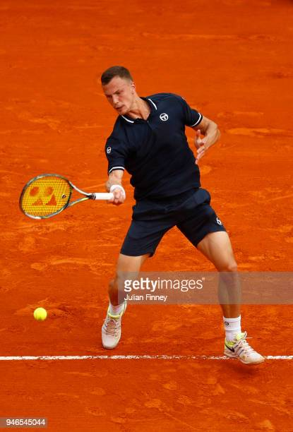 Marton Fucsovics of Hungary plays a forehand shot during the Men's single Round of 64 match between Marton Fucsovics and Daniil Medvedev on Day One...