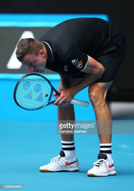 Marton Fucsovics of Hungary reacts after match point in his Men's Singles first round match against Denis Shapovalov of Canada on day one of the 2020...