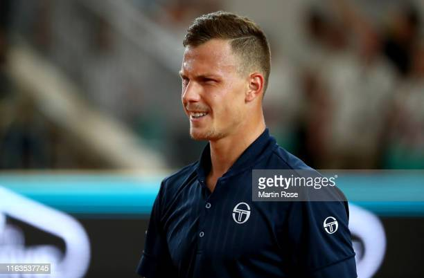 Marton Fucsovics of Hungary reacts against Philipp Kohlschreiber of Germany during day one of the Hamburg Open 2019 at Rothenbaum on July 22 2019 in...