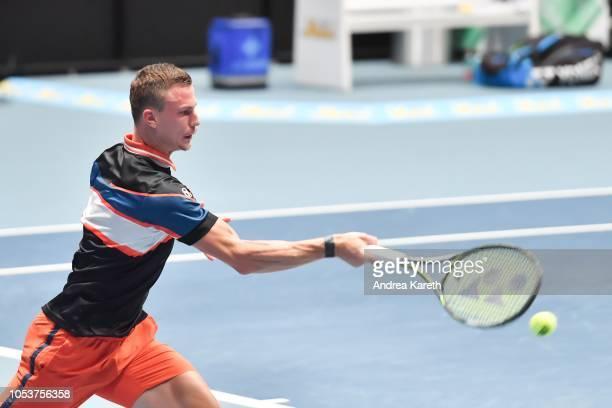 Marton Fucsovics of Hungary returns a ball during the round of 8 match between Mikhail Kukushkin of Kazakhstan and Marton Fucsovics of Hungary on day...