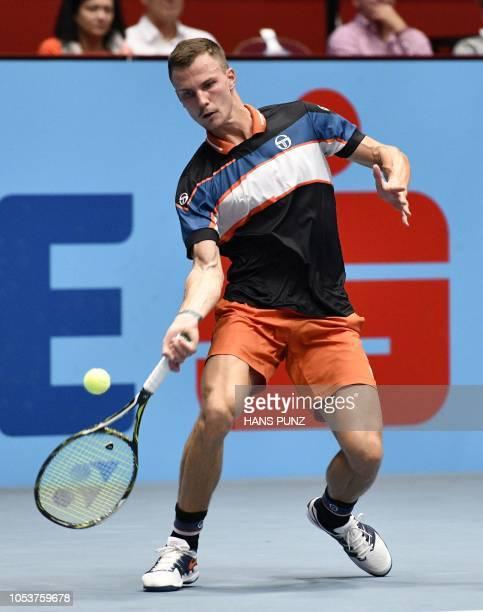 Marton Fucsovics of Hungary returns the ball to Mikhail Kukushkin of Kazakhstan during the Open ATP Tennis Tournament in Vienna Austria on October 26...
