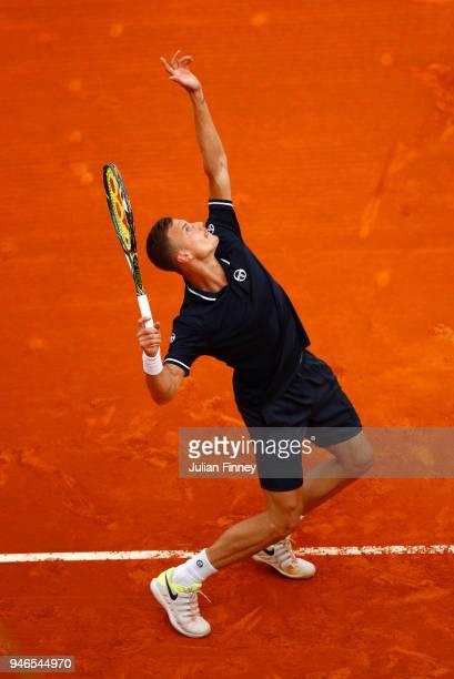 Marton Fucsovics of Hungary serves during the Men's single Round of 64 match between Marton Fucsovics and Daniil Medvedev on Day One of ATP Masters...