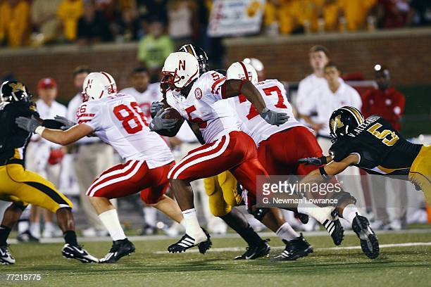 Marton Lucky of the Nebraska Cornhuskers runs for yardage against the Missouri Tigers during 2ndhalf action on October 6 2007 at Faurot Field in...