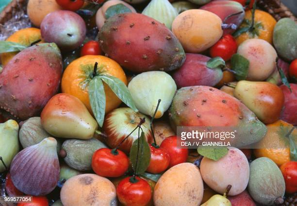 Martorana fruit almond sweets Lipari Aeolian Islands Sicily Italy