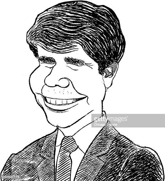 Marty Bach black and white illustration of Rod Blagojevich Governor of Illinois