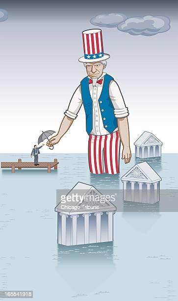 Marty Bach color illustration of Uncle Sam wading in water that has drowned several banks offering an umbrella to a man in a suit standing on a pier