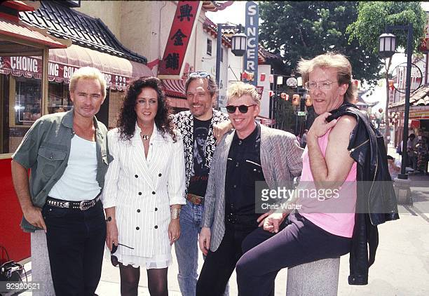 Marty Balin, Grace Slick, Jorma Kaukonen, Jack Casady and Paul Kantner, the original lineup of Jefferson Airplane, in 1989