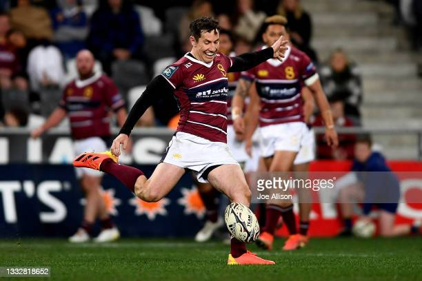 Marty Banks of Southland attempts to kick a drop goal during the round one Bunnings NPC match between Otago and Southland at Forsyth Barr Stadium, on...