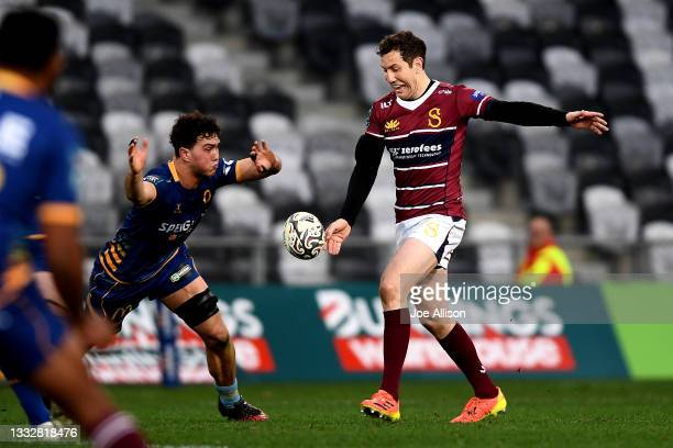 Marty Banks of Southland kicks the ball during the round one Bunnings NPC match between Otago and Southland at Forsyth Barr Stadium, on August 07 in...