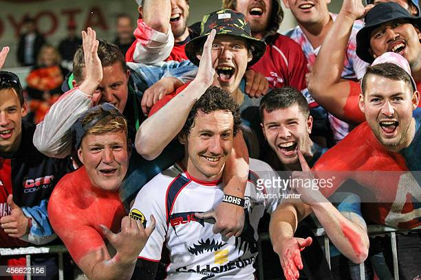 Marty Banks of Tasman celebrates with Makos fans after the ITM Cup match between Canterbury and Tasman at AMI Stadium on October 4 2014 in...