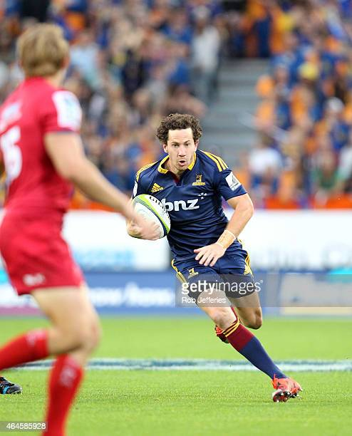 Marty Banks of the Highlanders on the attack during the round three Super Rugby match between the Highlanders and the Reds at Forsyth Barr Stadium on...