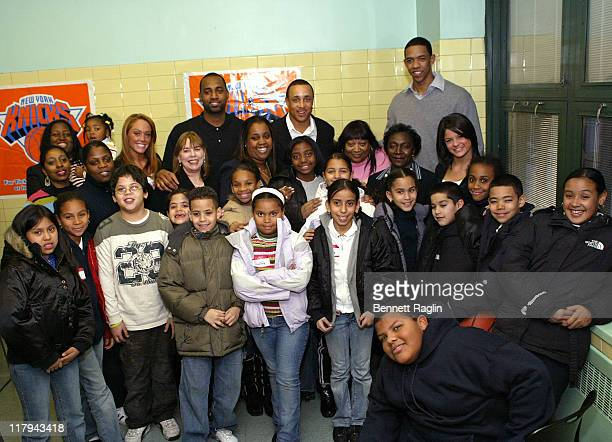 Marty Collins John Starks and Channing Frye with students