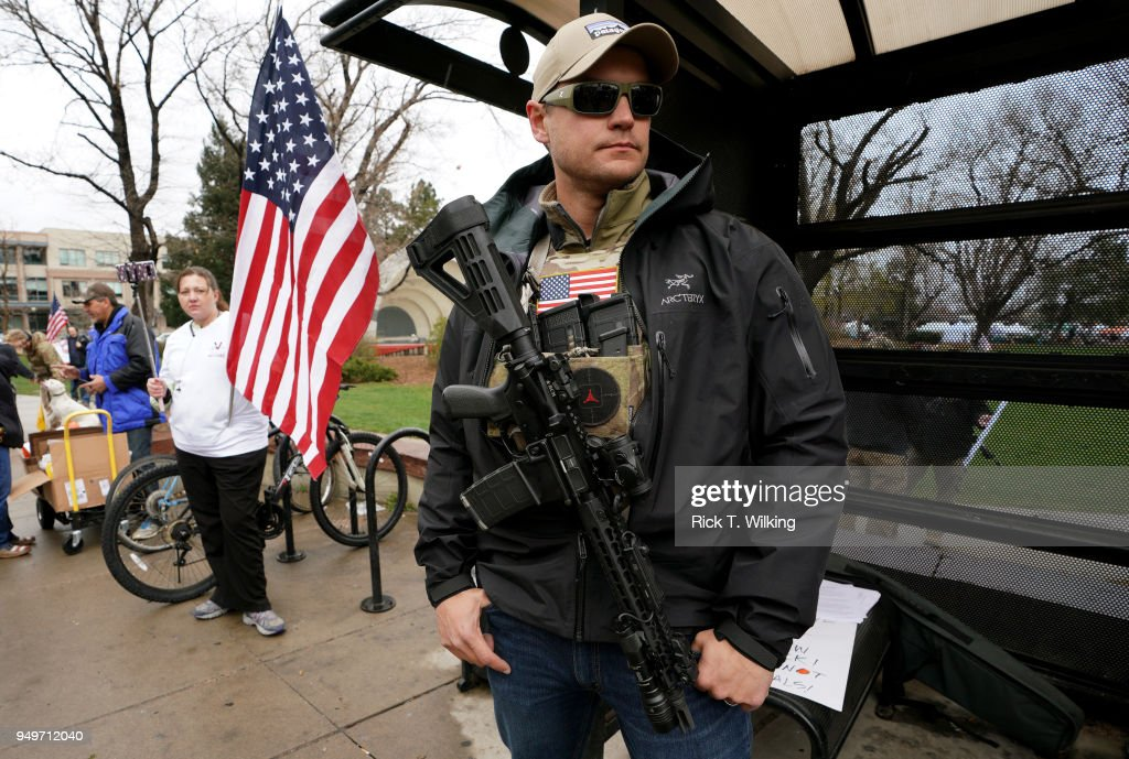 Marty Combs openly carries his AR-15 pistol at a pro gun rally on April 21, 2018 in Boulder, Colorado. The city of Boulder is considering enacting an ordinance that will ban the sale and possession of assault weapons in the city.