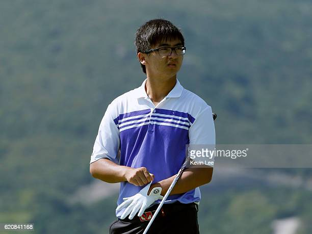 Marty Dou Zecheng of China in action during day one of the Clearwater Bay Open at the Clearwater Bay Golf Country Club on November 3 2016 in Hong...