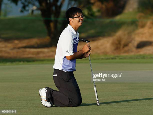 Marty Dou Zecheng of China reacts after a shot during day one of the Clearwater Bay Open at the Clearwater Bay Golf Country Club on November 3 2016...
