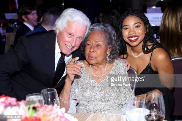 Marty Edelman Rachel Robinson and Zoe Hopson attend Jackie Robinson Foundation Robie Awards Dinner at Marriot Marquis on March 02 2020 in New York...