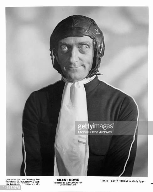 Marty Feldman wearing leather helmet in a scene from the film 'Silent Movie' 1976