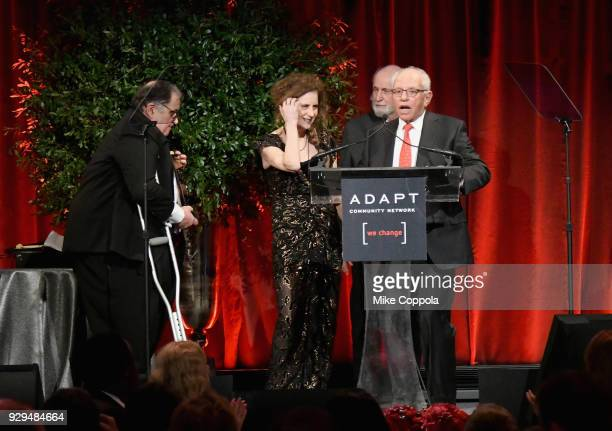 Marty Hausman Helene Miller and Michael Hausman speak during the Adapt Leadership Awards Gala 2018 at Cipriani 42nd Street on March 8 2018 in New...