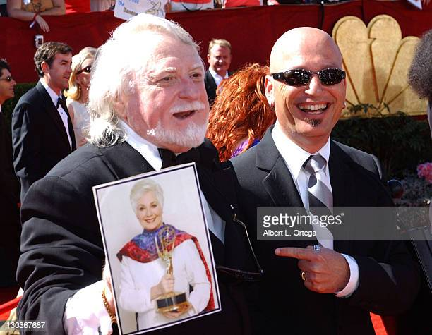 """Marty Ingels with a photo of his wife Shirley Jones nominee Outstanding Supporting Actress in a Miniseries or Movie for """"Hidden Places"""" with Howie..."""