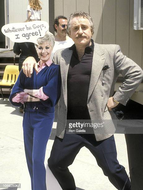 Marty Ingels with standee of Shirley Jones during Tammy Sue Bakker at a Taping of 'The Sally Jesse Raphael Show' at Sea World in San Diego California...
