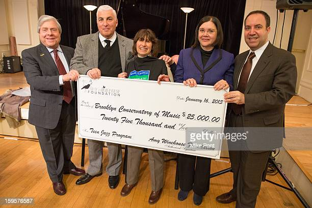 Marty Markowitz Mitch Winehouse Janis Winehouse Karen Geer and Carlos A Scissura attend the Amy Winehouse Foundation Grant award presentation at...